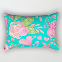 Watercolor Hearts + Flowers On Turquoise  Rectangular Pillow
