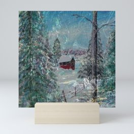 """Cabin In The Snow"" Mini Art Print"
