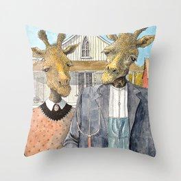 American Giraffic Throw Pillow