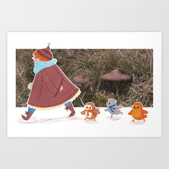 Little Squidget and the owls Art Print