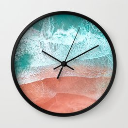 The Break - Turquoise Sea Pastel Pink Beach II Wall Clock