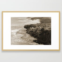 Bamboo Ridge - Vintage Hawaii Fishing by Jacqueline Perry Framed Art Print