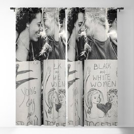 Interracial Lesbian Couple Protest For Equality Blackout Curtain