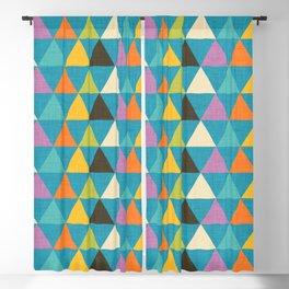 Retro Color Block Triangle Blue Blackout Curtain