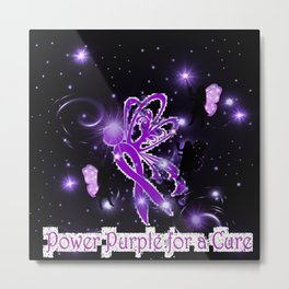 Power Purple For a Cure - The Wings of Love and Hope - Nightshift Metal Print