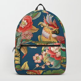 Antique French Chinoiserie in Blue Backpack