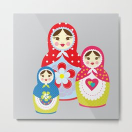 babushka , matryoshka , russian doll , nursery decor , children gift, birthday gift Metal Print