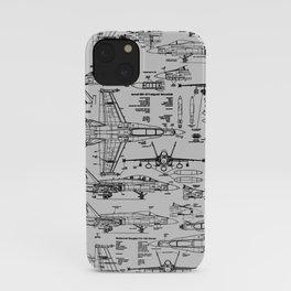 F-18 Blueprints // Light Grey iPhone Case