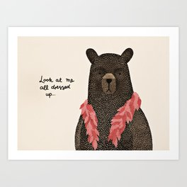 Bear Dress Up Boa Art Print