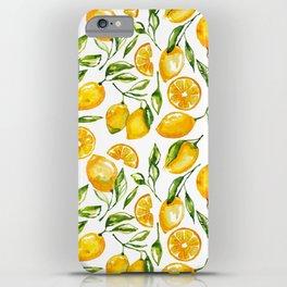 lemon watercolor print iPhone Case