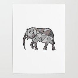 Elephant geometric, bishop grey, home decor, Graphicdesign Poster