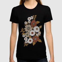 Brown, Orange, and Ivory Retro Flower Pattern T-shirt