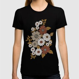 Brown, Orange, and Ivory Retro Flower Pattern T-shirt