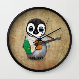 Baby Penguin Playing Irish Flag Guitar Wall Clock