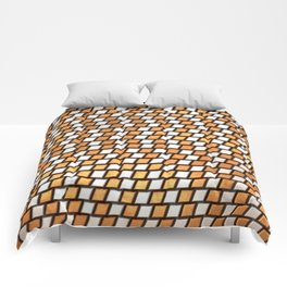 Irregular Chequers - Steel and Copper - Industrial Chess Board Pattern Comforters