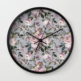 Blush blue pink coral green watercolor botanical roses Wall Clock