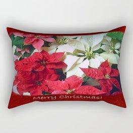 Mixed color Poinsettias 1 Merry Christmas P5F5 Rectangular Pillow