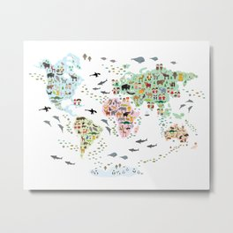 Cartoon animal world map for children and kids, Animals from all over the world Metal Print