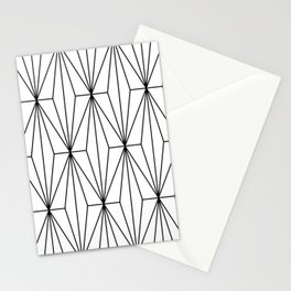 Black White Geometric Pattern Illustration Stationery Cards