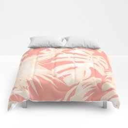 Tropical Coral Pink Palm Leaf Pattern Comforters