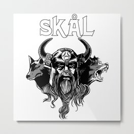 Skal Skol Viking Drinking Metal Print