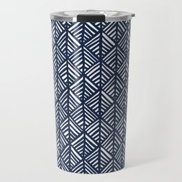 Abstract Leaf Pattern in Blue Travel Mug