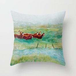 Wild Horse Band by Creek watercolor by CheyAnne Sexton Throw Pillow