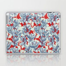 Leaf and Berry Sketch Pattern in Red and Blue Laptop & iPad Skin