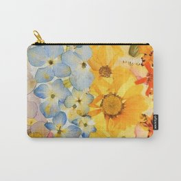Pressed Flower Art Hot Air Balloon Carry-All Pouch