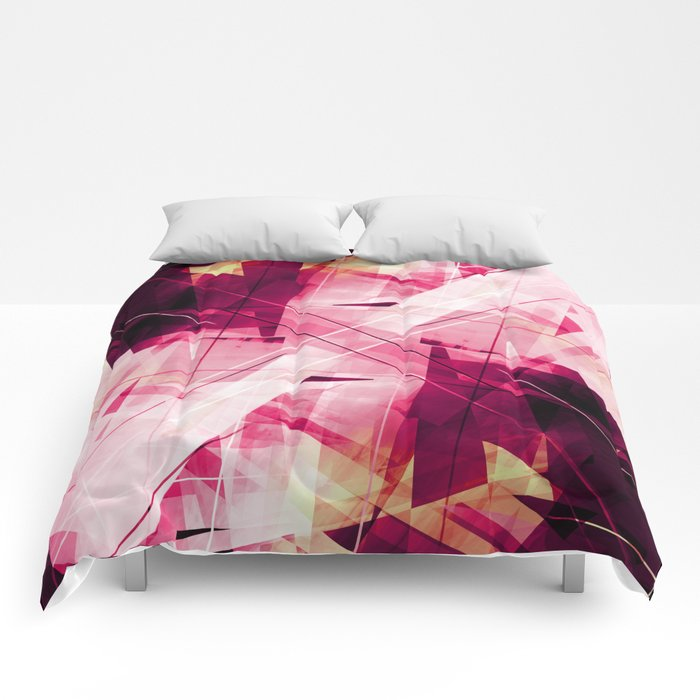 Ruckus in Red - Geometric Abstract Art Comforters