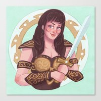 xena Canvas Prints featuring xena warrior princess by Charlotte Foley
