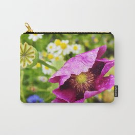 Purple Poppy in the Rain Carry-All Pouch