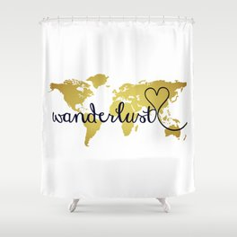 Wanderlust World Map with Faux Gold Foil Shower Curtain