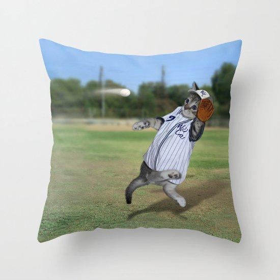 Baseball Catcher Kitten Throw Pillow