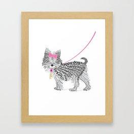 Typographic Yorkshire Terrier - Pink   #YorkshireTerrier #buyart Framed Art Print