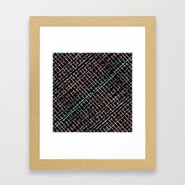 pastel grid pattern doodle on black Framed Art Print