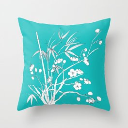 bamboo and plum flower white on blue Throw Pillow