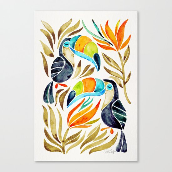 Tropical Toucans – Sepia Palette Canvas Print
