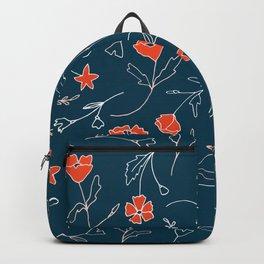 Orange pink pastel navy blue modern floral Backpack