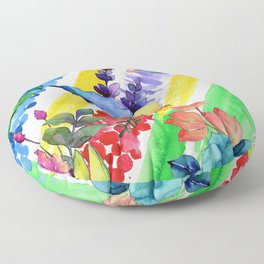 Summer Soiree Colorful Watercolor Floral Pattern Floor Pillow