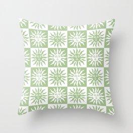 Mid Century Modern Sun Pattern Sage Green Throw Pillow