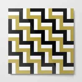 TEAM COLOR 7 GOLD , BLACK AND WHITE..PATTERN Metal Print