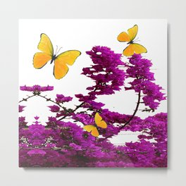 YELLOW BUTTERFLIES & PURPLE BOUGAINVILLEA FLOWERS Metal Print