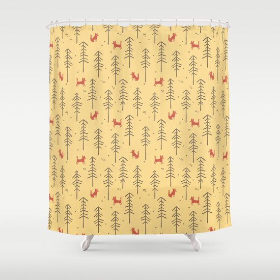 Fox hiding in the forest Shower Curtain