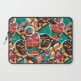 Pattern. Desserts, muffins, cupcakes, candies, cheesecake, chocolate, coffee. Laptop Sleeve