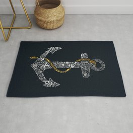 Anchor in Gold and Silver Rug