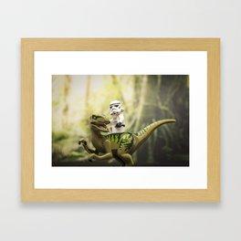 Ride the Raptor - LEGO Framed Art Print