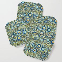 Greek Blue Glass Evil Eye Amulet Pattern Coaster