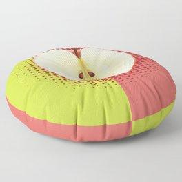 Apple half pop art Floor Pillow