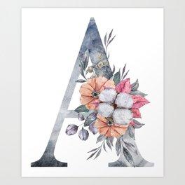 Floral Monogram A, Last name Monogram A Art Print